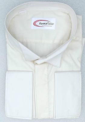 Ivory wing collar shirt by Formal Tailor choice of large neck sizes Double cuffs